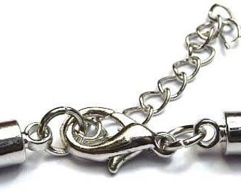 Metal clasp with end cap for cord 4mm and chain adjustment