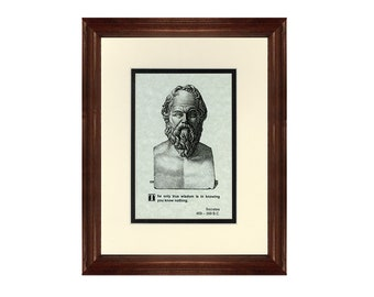 Print and Quotation of Socrates with Mat and Frame