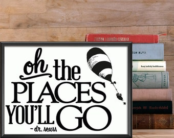 """Dr. Seuss """"Oh the Places You'll Go"""" Framed Print"""