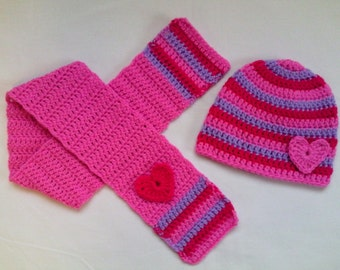 Crochet Baby Toddler Kids Hat and Scarf Set gift pink crimson lilac hearts, gift