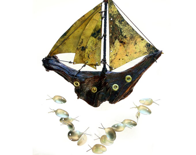 Driftwood And Brass Pirate Ship Galleon, Fish Windchime, Metal Wind Chime, Brass Porthole, Antique Ship Model, Viking Pirate Sailing Boat
