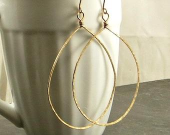 Gold Teardrop Earrings XX Large Hammered Teardrop Earrings Gifts for Her 14K Gold Fill Earrings