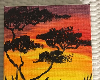 Prairie art, prairie sunset, fridge magnet, ooak, landscape sunset, prairie painting, sunset, landscape painting, forest art, refrigerator .