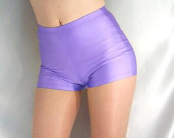 Retro style high waisted shiny spandex shorts hot pants lilac