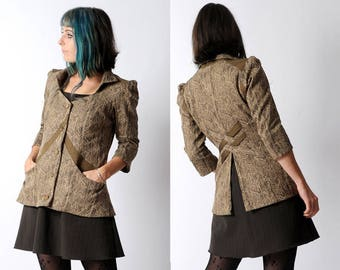 Brown womens jacket, Beige and bronze fitted jacket, Office fashion, Womens clothing, Brown patterned jacket, Womens jackets, MALAM, UK 12