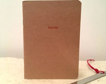 Letterpress Notebook Custom front cover