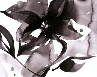Organic Impressions No. 50 ... Floral Minimalist art archival print from original painting by Kathy Morton Stanion EBSQ