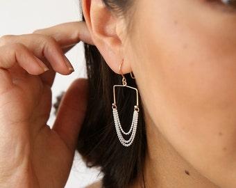 Square Bar Chained Earrings- Chandelier Earrings- Grecian Earrings- Statement Earrings- Mixed Metal Earrings- Sterling Silver- Rose Gold