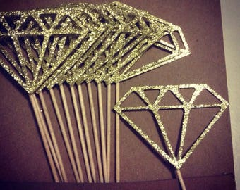 Diamond Glitter Cupcake Toppers (Sets of 12)