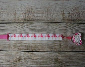 Pacifier Clip, Paci Clip, Binky Clip, Teether Clip - Pink Flamingos