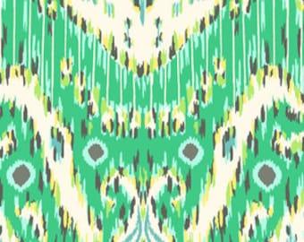 Amy Butler Lark Sateen Kasbah Emerald | Boho Ikat Print Fabric | Emerald Green Cotton Home Decor Fabric | Rare OOP Designer Fabric BTY