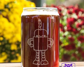 Cute Robot Customizable Etched Beer Can Glass Glassware Gift