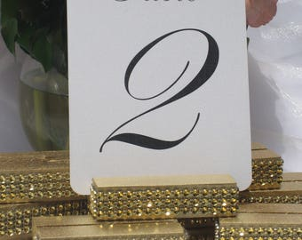 Gold Rhinestone Table Number Holder + Gold Table Card Holder + Gold Bling Table Card Holders (Set of 10)