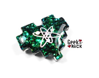 Brooch-science geeky pixel heart glitter holographic vibrant gamer video game nerd
