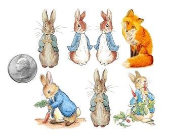Temporary Tattoo - Set of 7 Peter Rabbrats and Fox / 6 Victorian Cats / Tattoo Flash