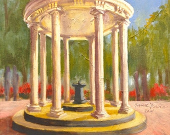 UNC Well Hand signed Limited Edition Professional Giclee Art Print x of 100 University of North Carolina Well Chapel Hill from original oil