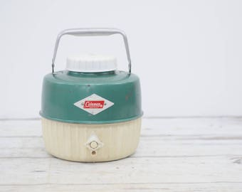 Vintage Green Snowlite Diamond Coleman 1 Gallon Water Picnic Jug Cooler 1949
