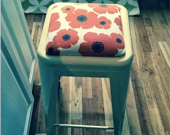 """Custom Upholstered Seat Cushion Tolix Style 30"""" Bar Height Stools:  in the Fabric of Your Choice"""