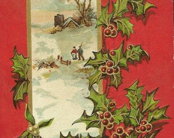 Bright Cheerful Embossed Antique Christmas Postcard Winter in the Country Holly Accents Dec 24th 1912