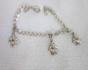 Vintage Premier Designs Charm Bracelet with Angel Charms with Rhinestones