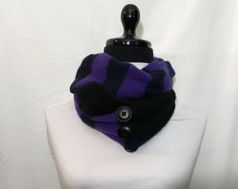 Black and purple  Infinity Cashmere Scarf made from  Upcycled Sweaters