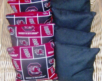 8 PC set of Corn hole Bags in 4 SC Gamecocks Cotton Print over Duck and 4 Black Duck bags.