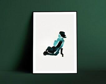 Reclining Woman Blue Ink Art Print - A3