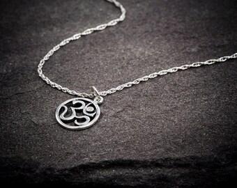 Om Diamond Necklace, Ohm Necklace, Diamond Necklace, Sterling Silver Necklace, Charm, Ohm Om Pendant, Yoga Zen Jewelry, Buddha Buddhist