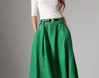 maxi skirt long, emerald green skirt, bohemian skirt, linen skirt, boho skirt, long skirt, womens skirts, fall skirt, pleated skirt  1038