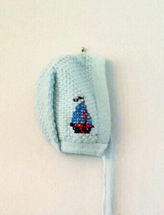 Vintage Acrylic Knit Baby Winter Hat with Sailboat Gift New Baby - Vintage Mid-Century Blue Baby Hat