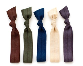 The Military Package - 5 Elastic Solid Color Hair Ties that Double as Bracelets by Mane Message on Etsy