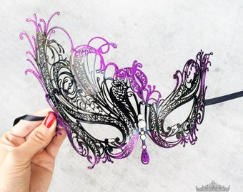 Masquerade Mask, Black Masquerade Mask, Masquerade Ball Mask, Magenta Purple Glitter Details