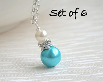 Set Of 6 Necklaces, Bridesmaid Gift 6, Bridesmaid Jewelry 6 Necklaces, Aqua Blue Ivory Pearl Necklaces, Flower Girl Jewelry