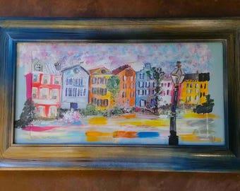 Rainbow Row Painting - Framed - One of a Kind