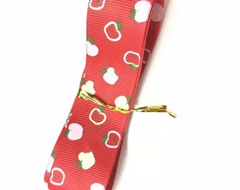 "1 Yards 7/8""  Apple Print Ribbon Gift"