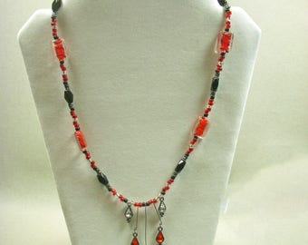 Red and Black Drop Necklace