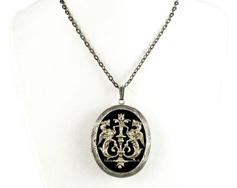 Heraldry Dragon Crest Pill Box Necklace Inlaid in Hand Painted Glossy Black Onyx Enamel Oval Locket Custom Colors and Personalized Options
