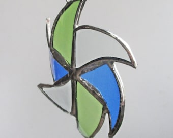 Blue and Green Pinwheel Star- Upcycled Stained Glass Suncatcher or Christmas ornament