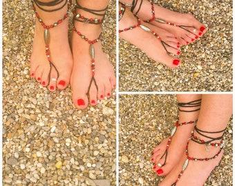 Barefoot Sandals, Beach wedding, foot jewelry, Boho Jewelry, toe ring, ankle bracelet, mandala jewelry, crochet jewelry