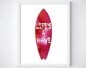 Surf Art, Cool Surfer Gifts, Surf Decor, Lifes a Wave, Surfing Room Decor,  Surf Art, Surf Board Printable,  Surfboard Art, Surf Printable,
