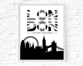 """Printable London Poster - Union Jack - Black, Grey and White Print - Instant Download - Contemporary  Wall Art - Typography - 8""""x10"""" and A4."""