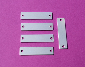 "50 - 5052 Aluminum 1/2"" x 1 3/4"" Rectangle Blanks - TWO HOLES - Polished Metal Stamping Blanks - 14G 5052 Aluminum"
