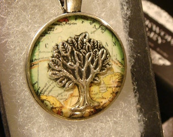 Tree of Life over Map Pendant Necklace (2038)
