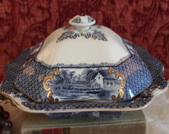 Antique Ironstone Blue Transfer Covered Serving Bowl - Marked Village Scenes, English, Gold Accents