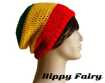 Rasta three striped hippy slouch beanie hat