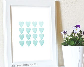Aqua nursery wall art, Gender neutral baby decor, nursery print, watercolor hearts print, printable  #0003A