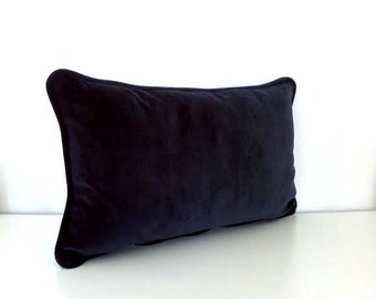 Navy Blue Velvet Throw Pillow Cover,  Cushion Cover with navy pipping, FREE SHIPPING