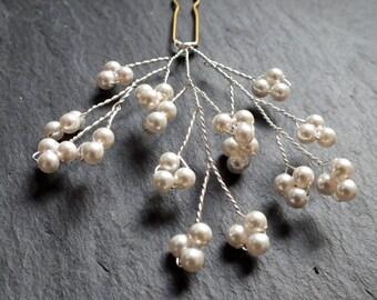 pearl hair pins, gypsophila hair accessory, baby's breath bridal hairpin, bridesmaid pin