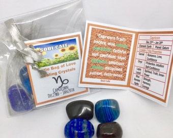 Capricorn Crystal Set - Zodiac Birthstones - Capricorn Tumblestone Gift - Capricorn Information Tag - Garnet, Lapis Lazuli, Onyx, Agate