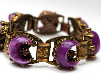 Book Chain Link Bracelet Purple thermoset Crescents Rhinestone Gold Brass  Victorian Revival
